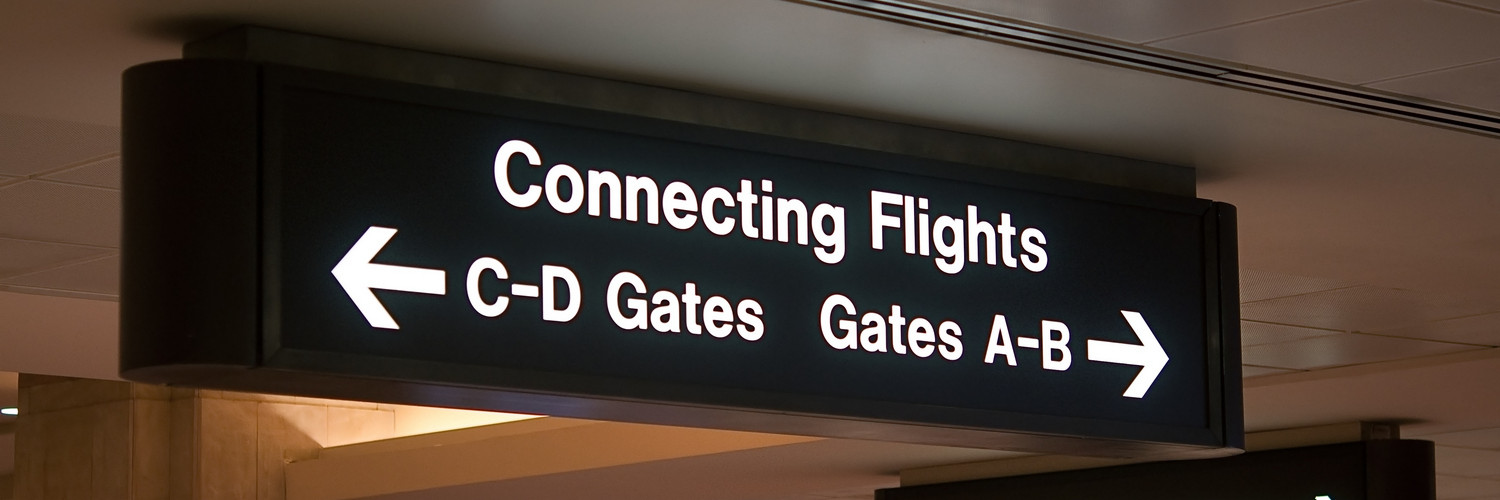 Connecting Flights Airport Sign