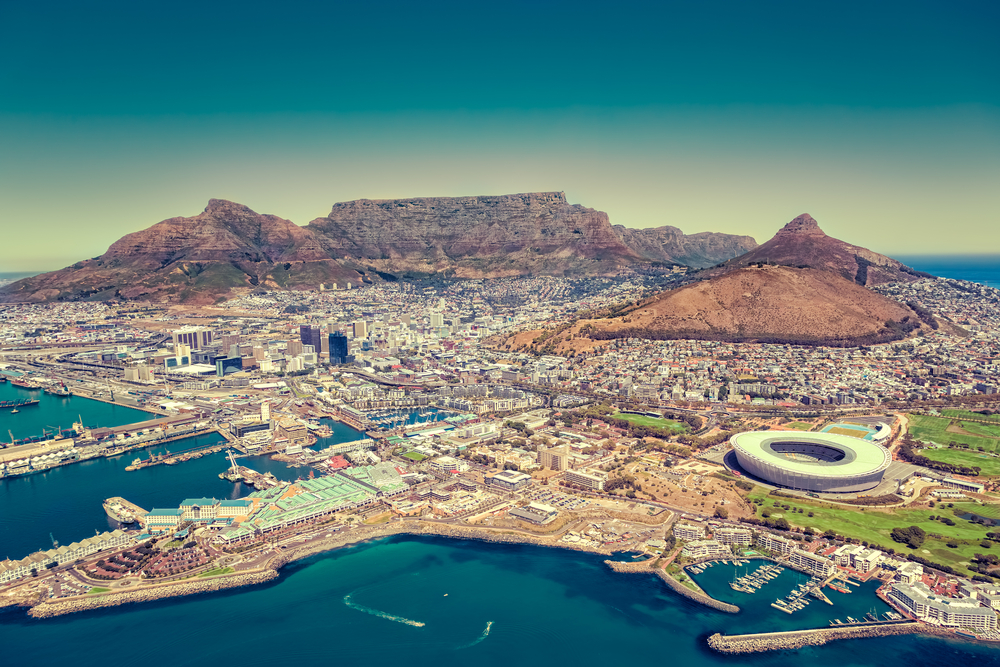 View of Cape Town from a plane