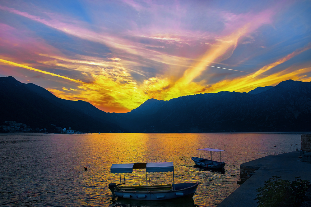 beautiful sunset in Kotor, Montenegro