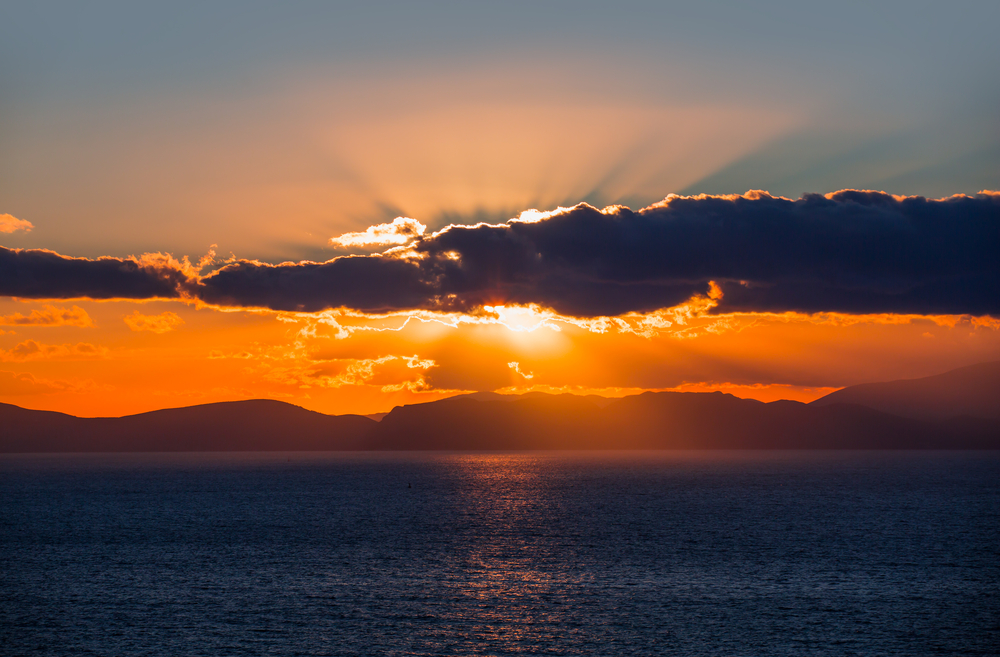 stunning sunset in Samos, Greece