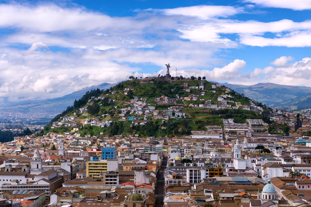 view of historic centre in quito ecuador