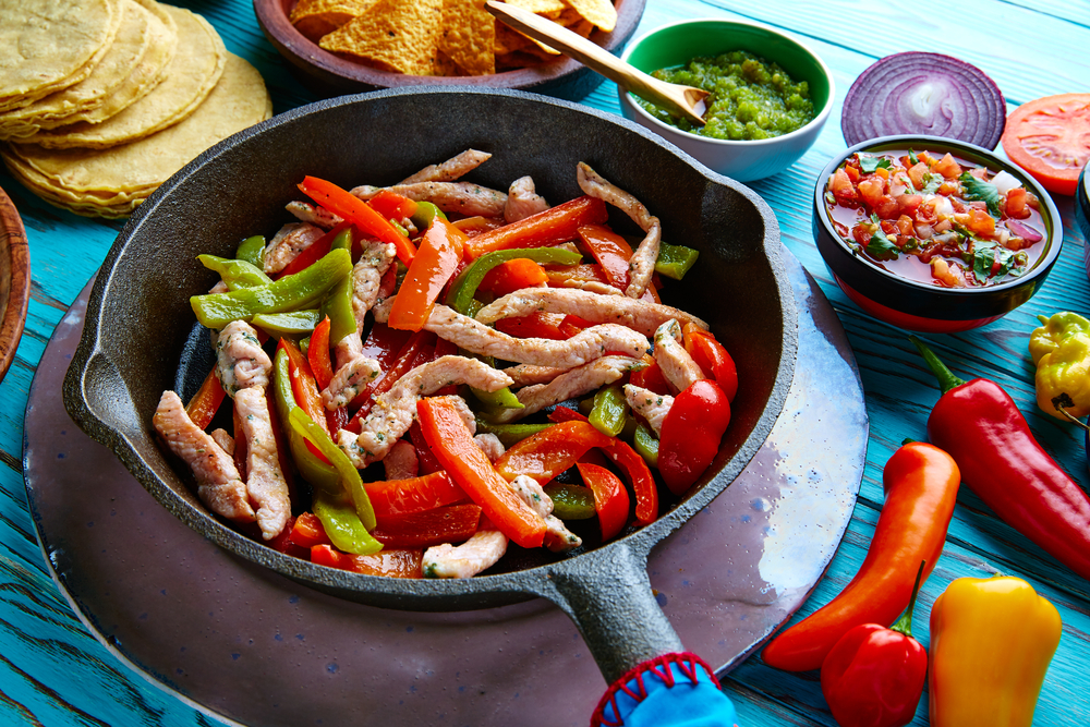 chicken fajitas - traditional mexican food